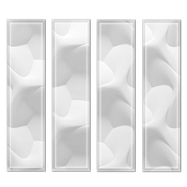 Crystal 3 x 12 Beveled Glass Subway Tile in Off White/Gray by Upscale Designs by EMA