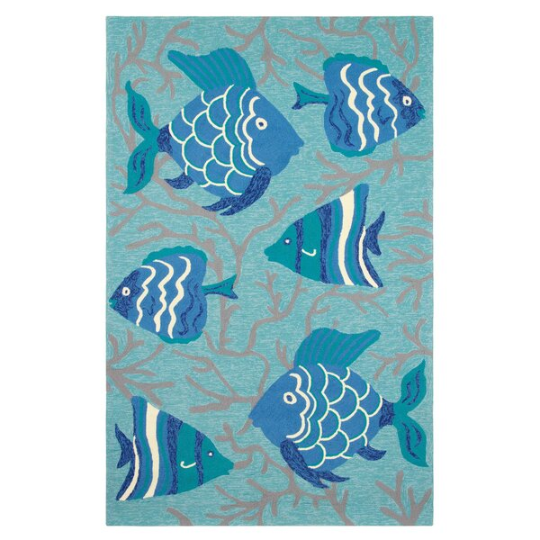 Go Fish Hand-Hooked Blue Indoor/Outdoor Area Rug by CompanyC