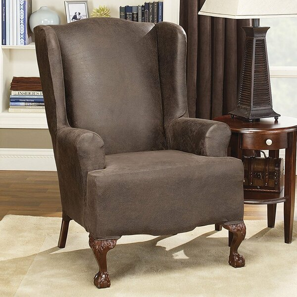 Sales Stretch Leather T-Cushion Wingback Slipcover