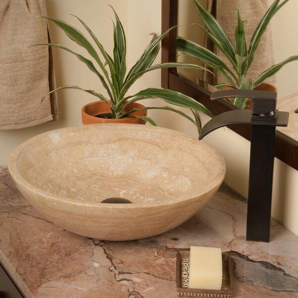 Beige Travertine Metal Circular Vessel Bathroom Sink with Faucet by Novatto