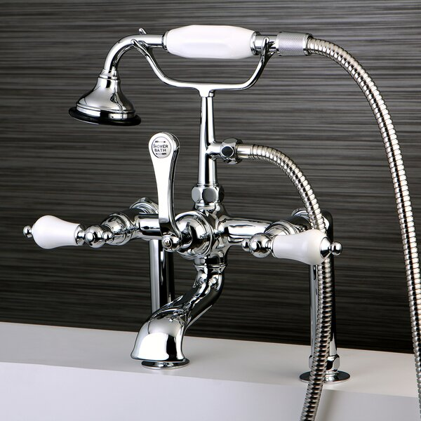 Vintage Triple Handle Deck Mounted Clawfoot Tub Faucet Trim With Diverter And Handshower By Kingston Brass