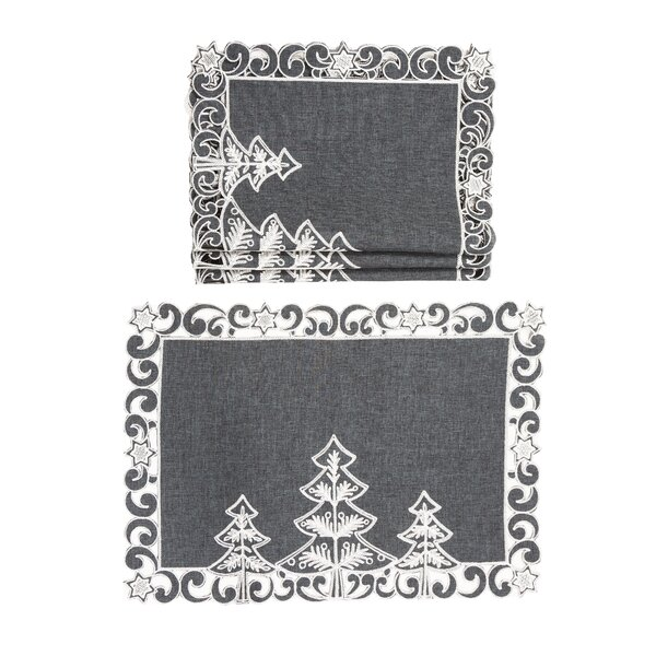 Damien Christmas Tree Embroidered Cutwork Christmas 14 Placemat (Set of 4) by The Holiday Aisle