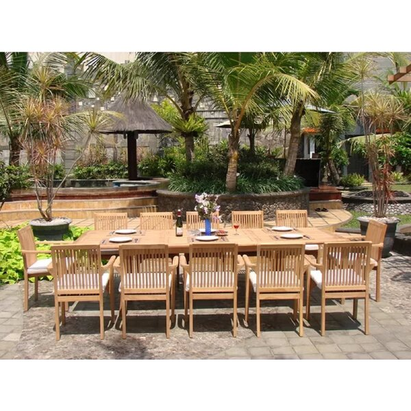 Jamison Luxurious 13 Piece Teak Dining Set by Rosecliff Heights