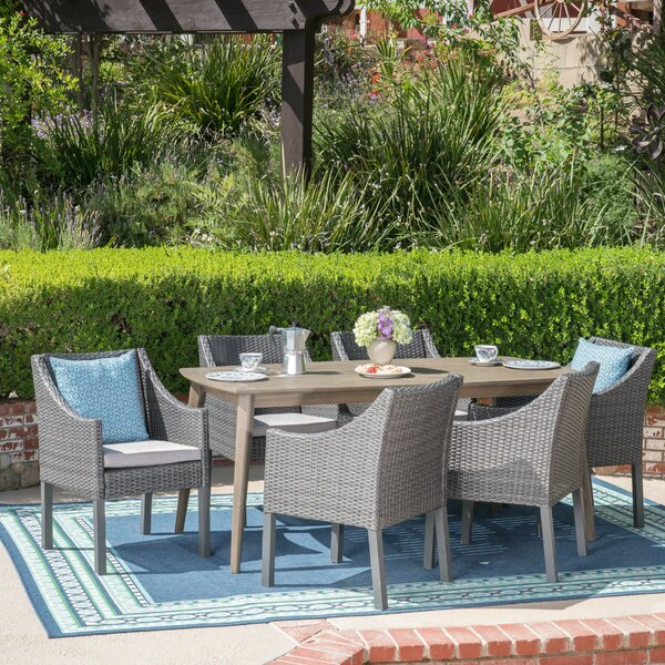 Berghauser 7 Piece Dining Set with Cushions by Ivy Bronx