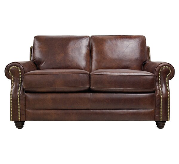 Halligan Leather Loveseat by Alcott Hill