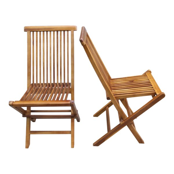 Burnett Folding Teak Patio Dining Chair (Set of 2) by Millwood Pines
