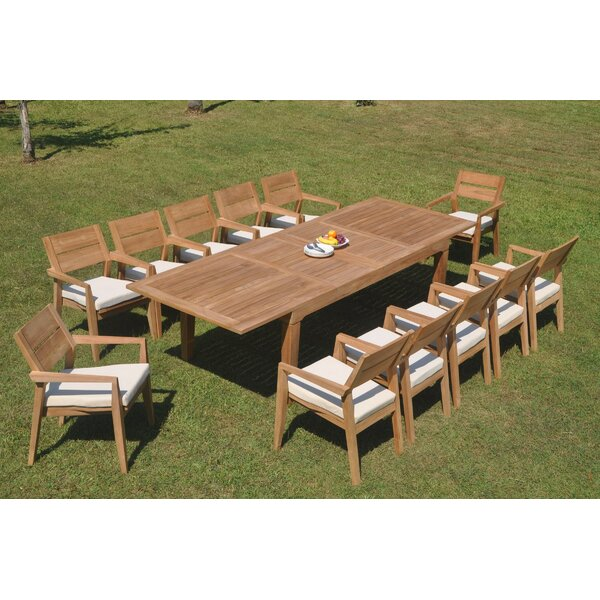 Elisha 13 Piece Teak Dining Set by Rosecliff Heights