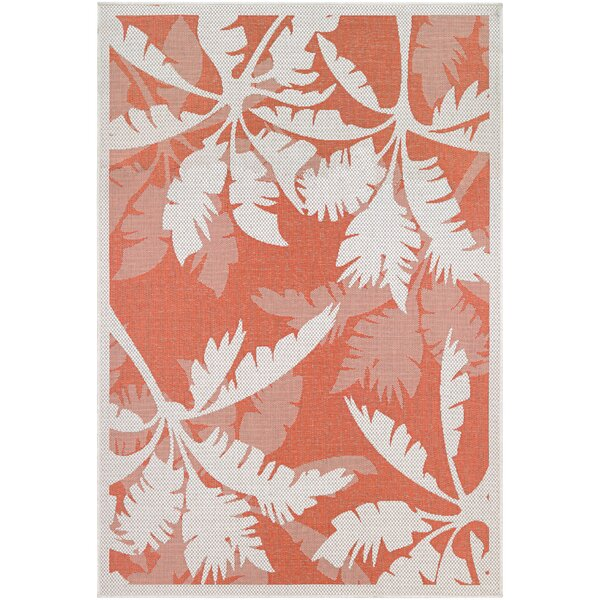 Tomie Coastal Flora Ivory/Orange Indoor/Outdoor Area Rug by Beachcrest Home