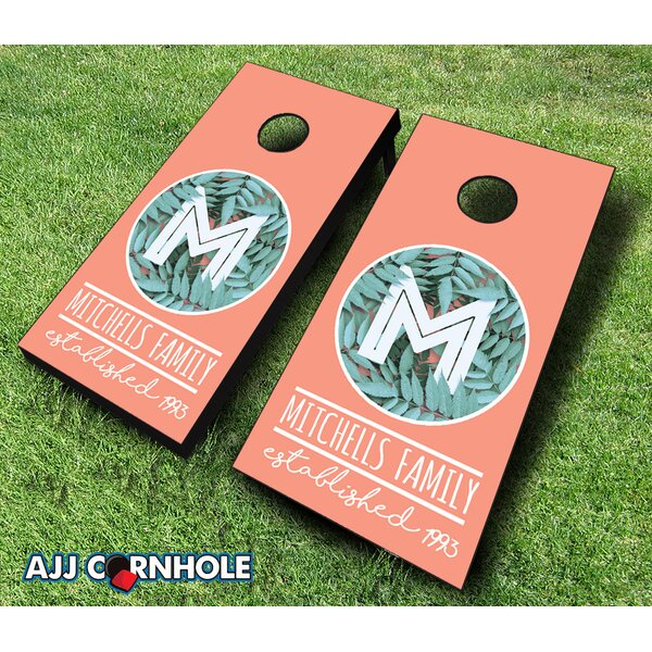 10 Piece Monogram Family Leaf Cornhole Set by AJJ Cornhole