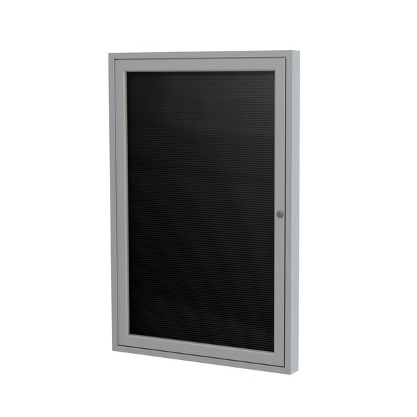 Ghent 1 Door Enclosed Letter Board with Satin Aluminum Frame by Ghent