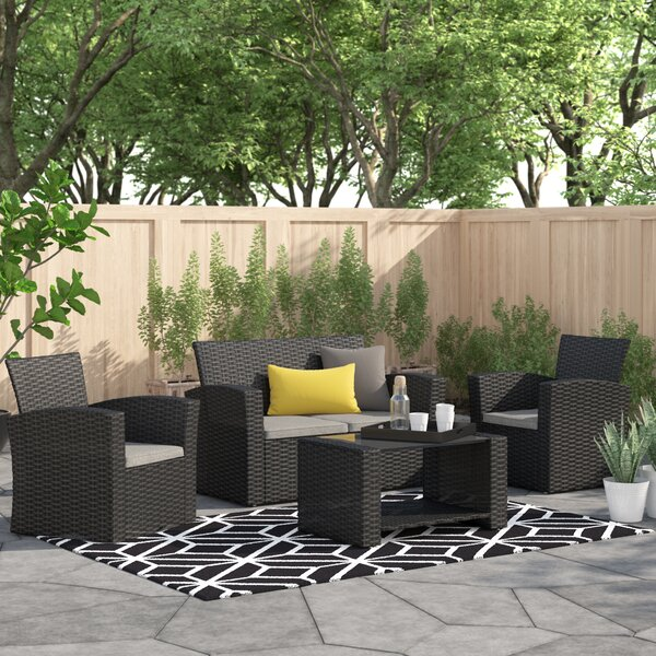 Charmain 4 Piece Rattan Sofa Seating Group with Cushions by Zipcode Design