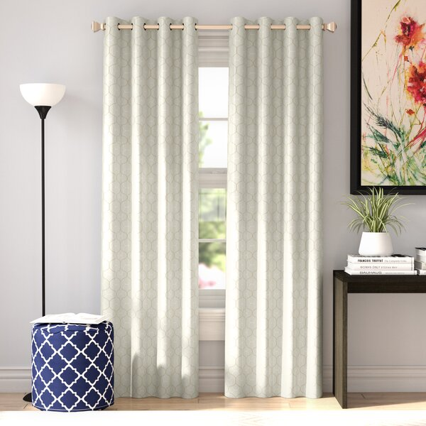 Eddleman Geometric Blackout Thermal Grommet Single Curtain Panel by Wrought Studio