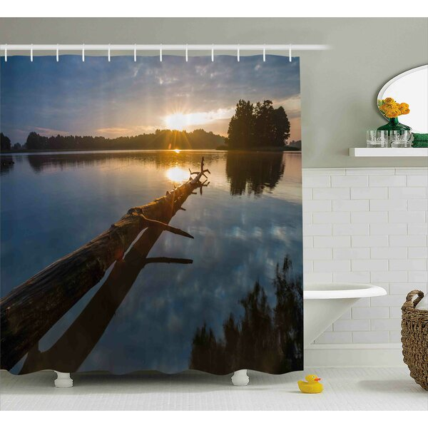 Bynes Natural Theme Landscape of Driftwood and Lake Shower Curtain by Loon Peak