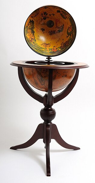 Globe Bar 3 Legged Pedestal Stand Red by Old Modern Handicrafts