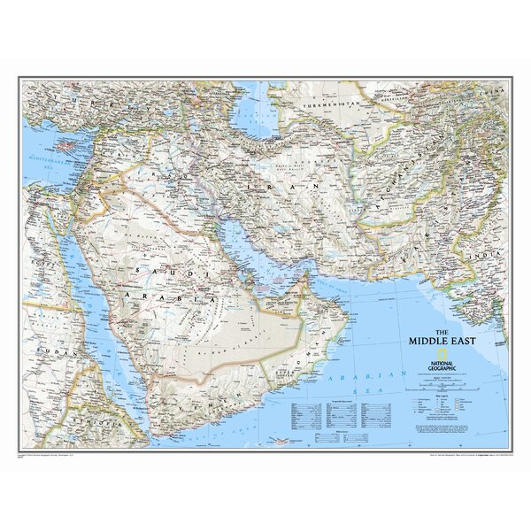 Middle East Wall Map by National Geographic Maps