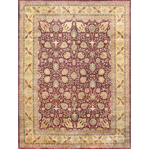 Tabriz Hand-Knotted Burgundy Area Rug by Pasargad
