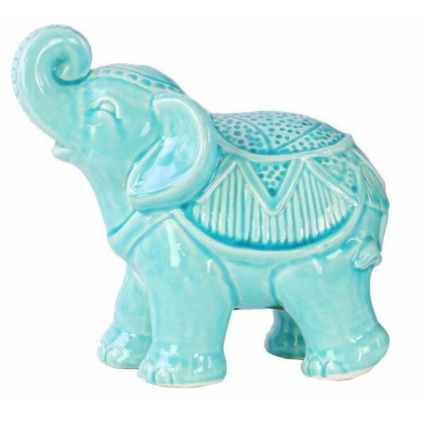 Schofield Ceramic Glossy Standing Trumpeting Ceremonial Elephant Figurine by World Menagerie