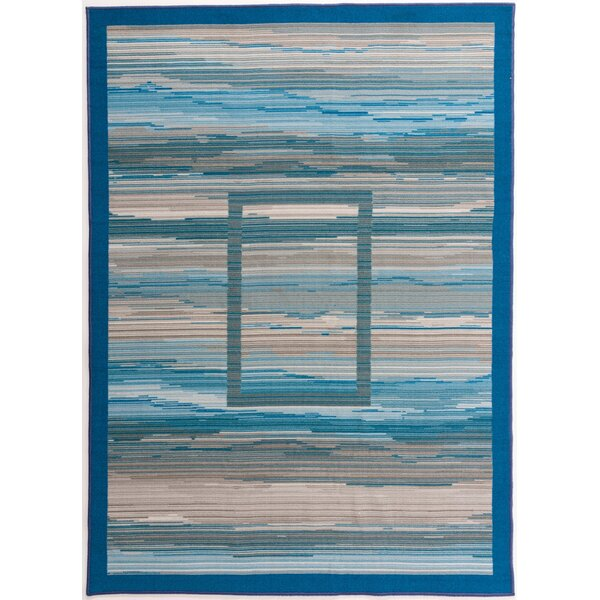 Donatien Contemporary Striped Design Non-Slip Gray Area Rug by Ebern Designs