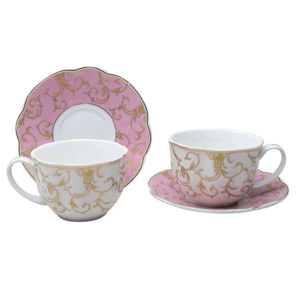 Krieger Scallop 9 Oz. Coffee Cup and Saucer (Set of 2) by Ophelia & Co.