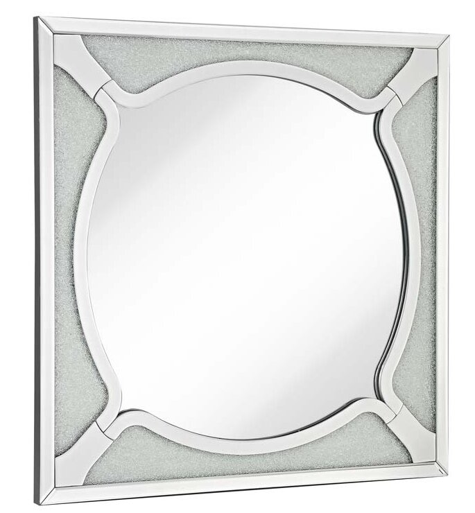 Majestic Mirror Square Wood Frame Round Beveled Mirror with Glass ...