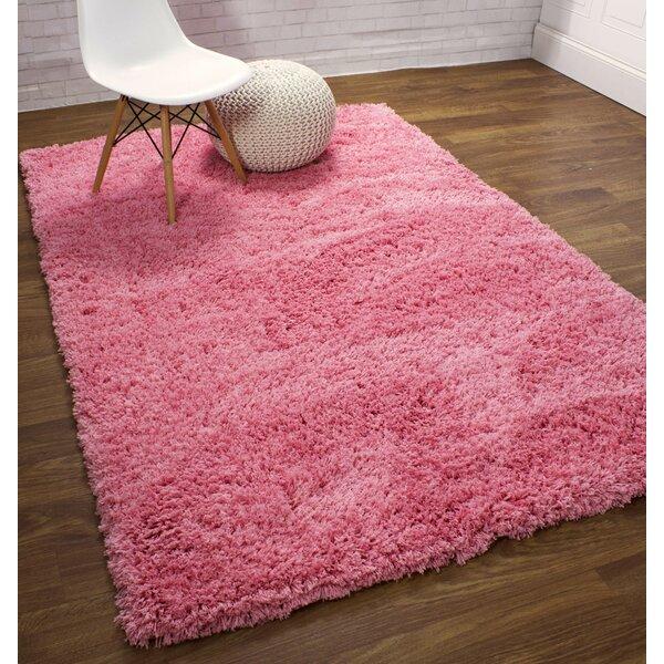 Ambriz Microfiber Ultra Soft Shag Light Pink Area Rug by Harriet Bee