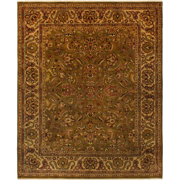 One-of-a-Kind Donley Hand-Knotted Wool Dark Olive Green Area Rug by Isabelline