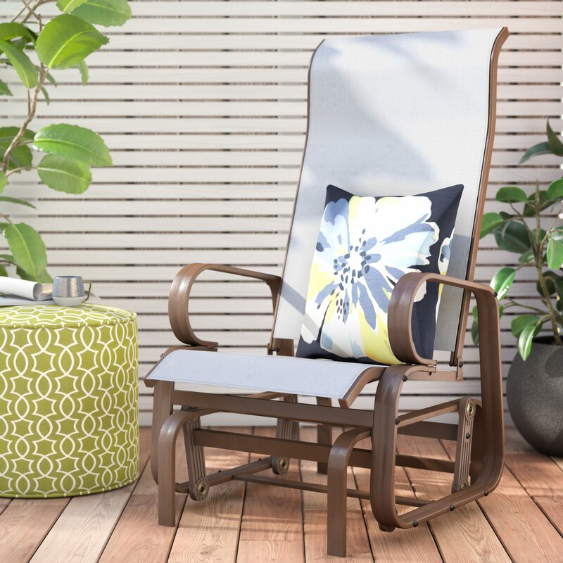 Winston Porter Swick Outdoor Mesh Fabric Patio Glider Chair Reviews Wayfair