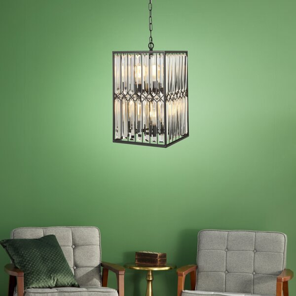 Alrick 8 - Light Candle Style Rectangle Chandelier with Crystal Accents by Everly Quinn Everly Quinn