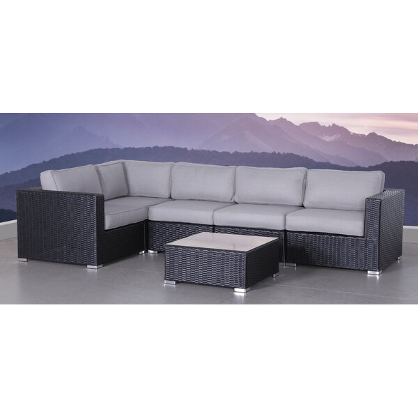 Galahad 6 Piece Rattan Sectional Seating Group with Cushions by Latitude Run