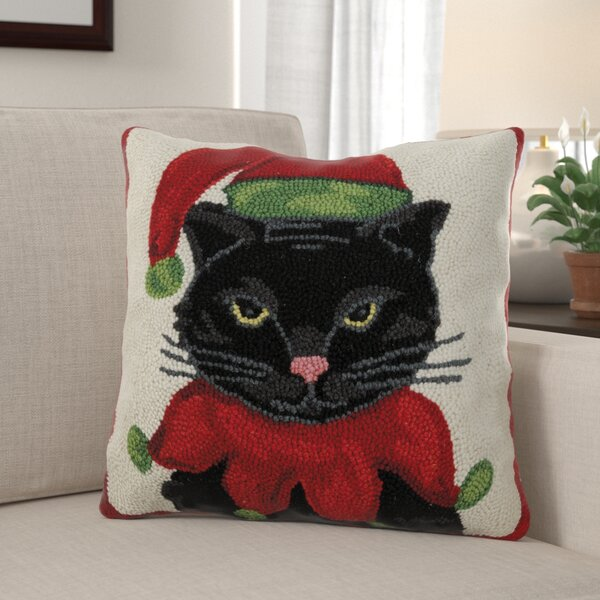 Frampton Cotterell Kitty Elf Hook Wool Throw Pillow by The Holiday Aisle