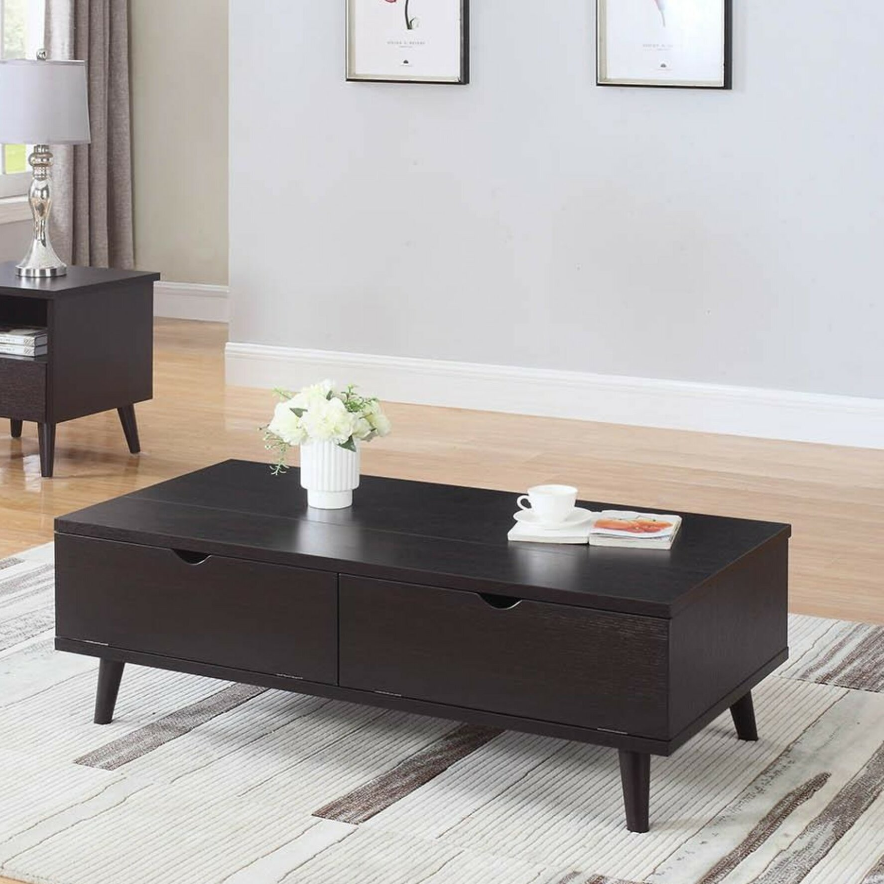 George Oliver Bueno Modern Lift Top Wooden Coffee Table With Storage Wayfair