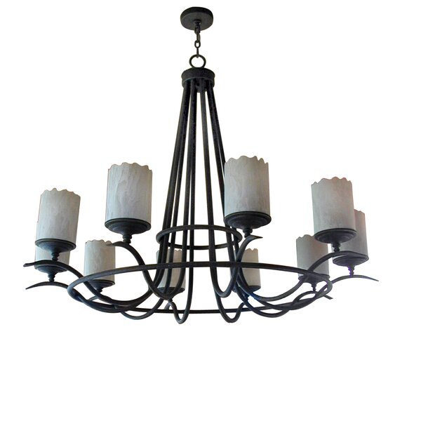 Octavia 10 - Light Shaded Wagon Wheel Chandelier By 2nd Ave Design