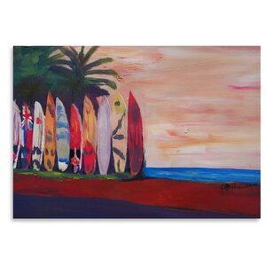 Surf Board Fence Wall at The Seaside Painting by East Urban Home