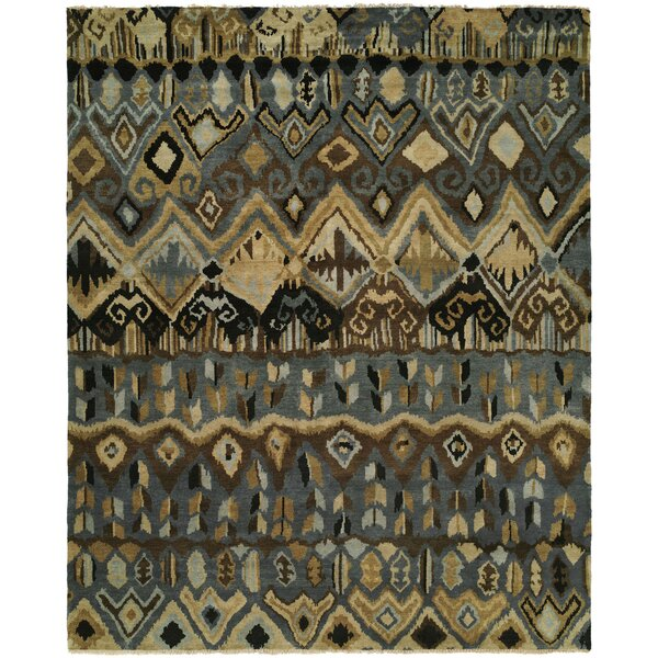 Giuditta Hand Knotted Wool Gray/Ivory Area Rug by Bloomsbury Market