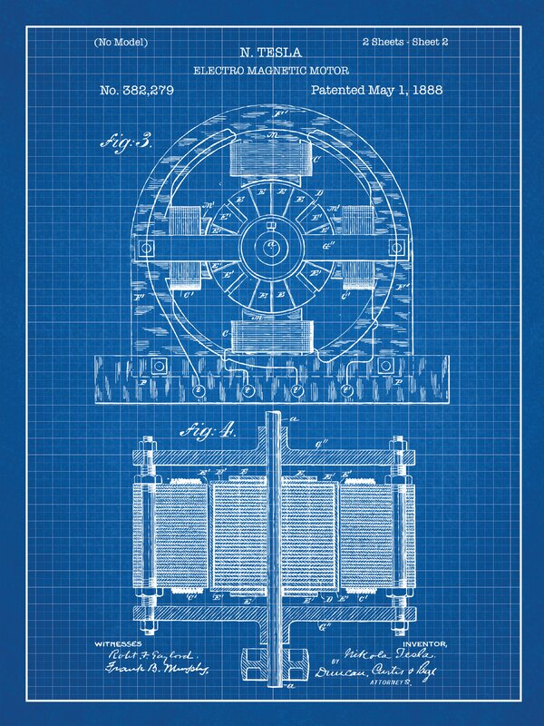 Inked and screened tesla electro magnetic motor blueprint graphic tesla electro magnetic motor blueprint graphic art malvernweather Gallery