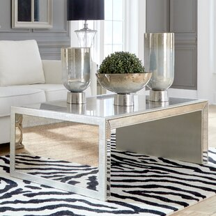 Alexandria Antiqued Mirrored Coffee Table House of Hampton