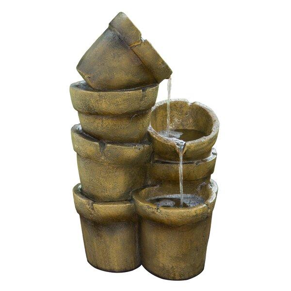 Resin Outdoor Stacked Pots Floor Fountain by Peaktop