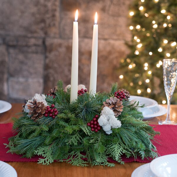 Fresh Winterberry Christmas Centerpiece by Harbor Farm