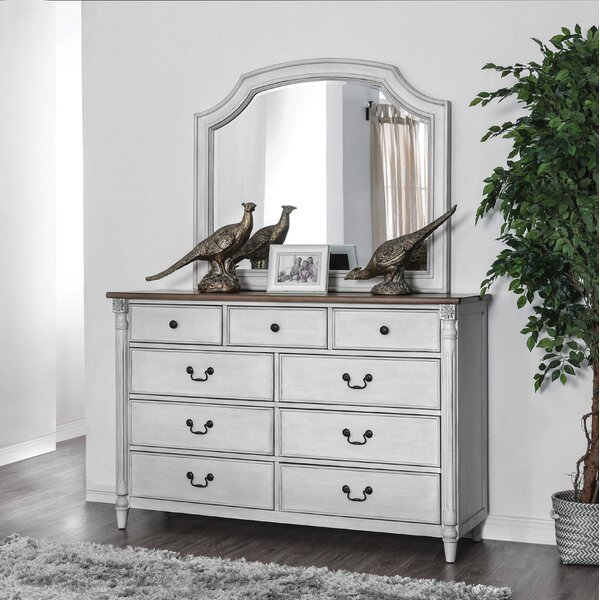 Elzada 9 Drawer Double Dresser with Mirror by Rosecliff Heights