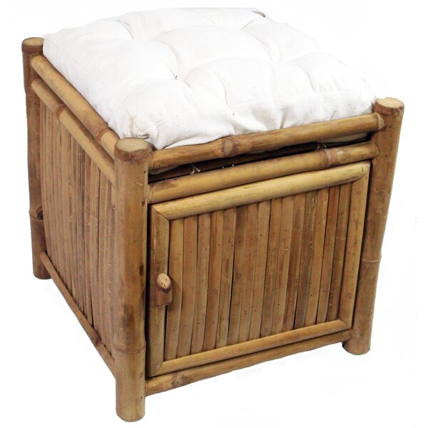 Porter Bamboo Square Storage Stool with Cushion by Bay Isle Home