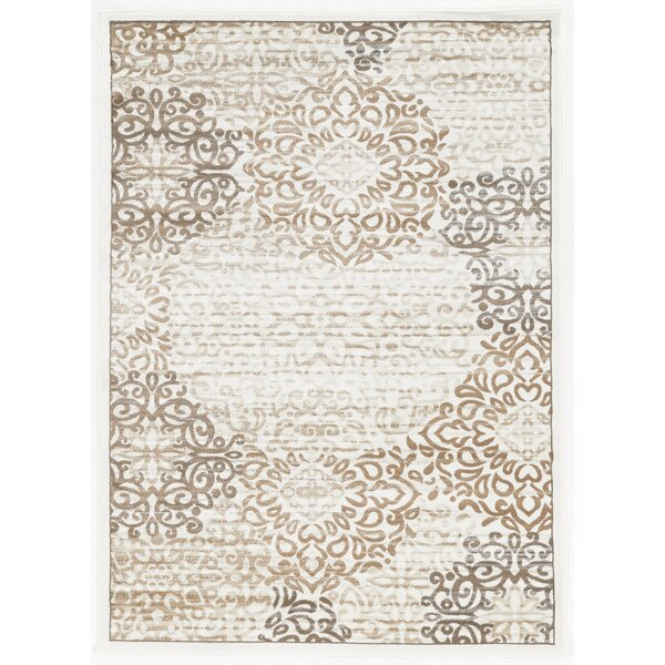Ackermanville Bone/Ivory Area Rug by Charlton Home
