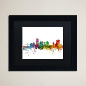 'Toledo Ohio Skyline' Framed Graphic Art by Ivy Bronx