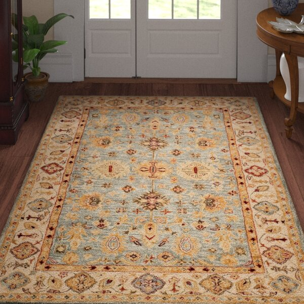 Ashville Hand-Tufted Blue / Ivory Area Rug by Three Posts