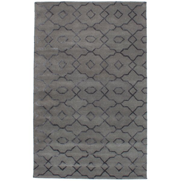 Cafar Abstract Art Hand-Tufted Wool/Silk Gray Area Rug by Mercer41