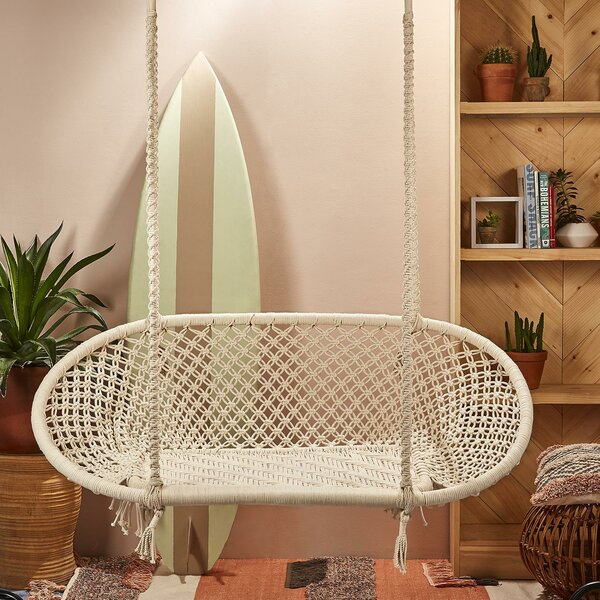 Macedo Macramé Double Chair Hammock by Rosecliff Heights