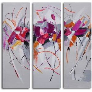 Fuchsia Frolicking Flower 3 Piece Wrapped Canvas Art Set by Brayden Studio