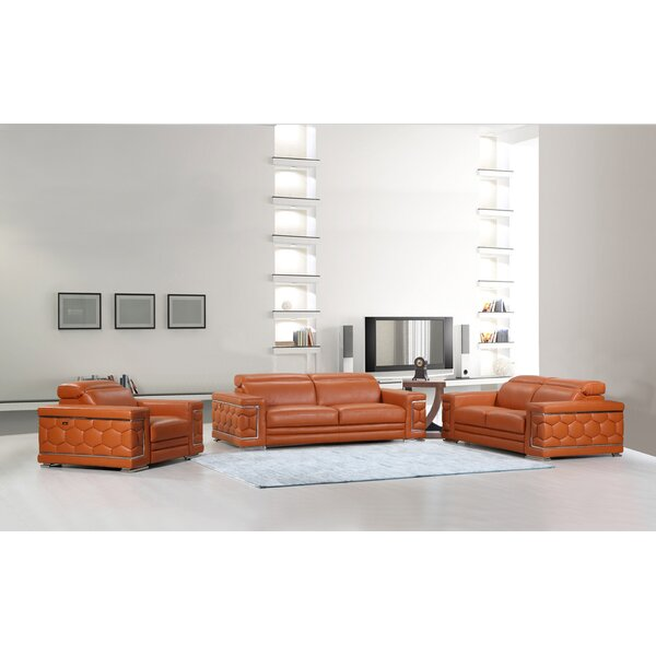 Hawkesbury Common Luxury Italian Upholstered Complete Leather 3 Piece Living Room Set By Orren Ellis Savings