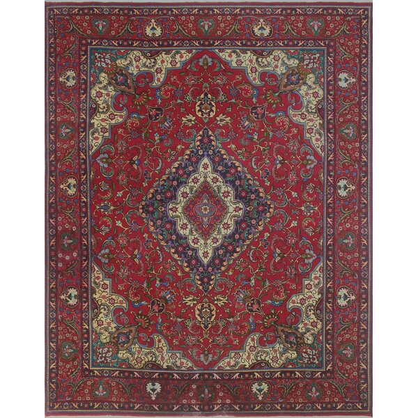 Brookview Vintage Distressed Hand Knotted Wool Red Area Rug by Bloomsbury Market