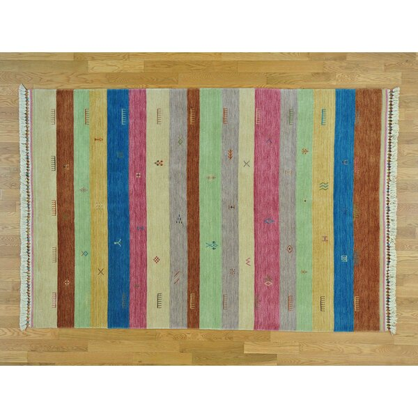 One-of-a-Kind Becker Striped Handwoven Beige/Gray/Pink Wool Area Rug by Isabelline