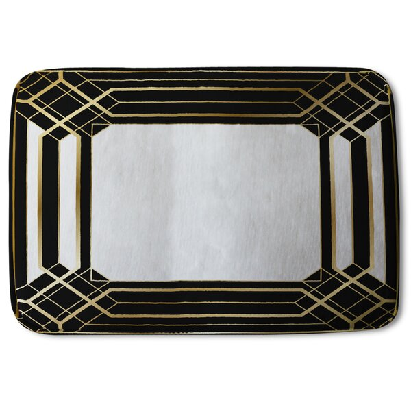 Mathais Art Deco Frame Designer Rectangle Non-Slip Bath Rug